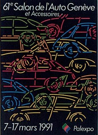1991年 引领80年潮流 透过海报看日内瓦车展发展 高清图片